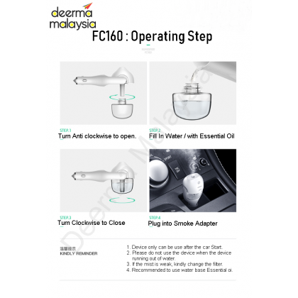 Deerma Car Aroma Diffuser with Humidifier F160