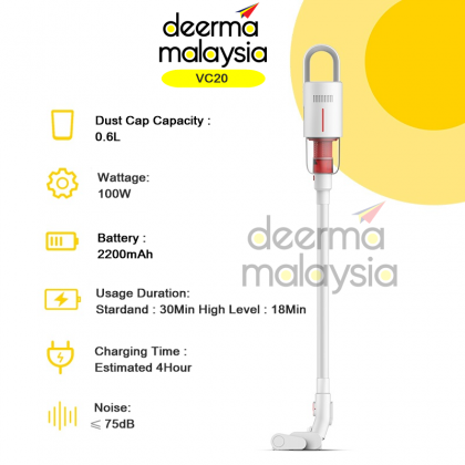 Deerma VC20 Wireless Vacuum Handheld Cleaner White 2in1 (Multiple cyclone filtration tower, electric soft ground roller brush)