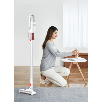 Deerma VC20 Wireless Vacuum Handheld Cleaner White 2in1 (Vertical stand, Multiple cyclone filtration tower, electric soft ground roller brush)