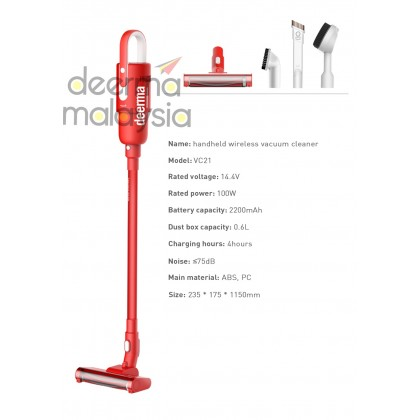 Deerma VC21 Wireless Vacuum Handheld Cleaner Red  2in1 (Vertical stand, Multiple cyclone filtration tower, electric soft ground roller brush)